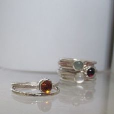 Gorgeous Handmade Bezel Set Amber Solid Silver Stacking Ring FREE 2nd Ring